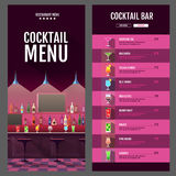 Flat style cocktail menu design with bar interior Royalty Free Stock Image