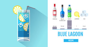 Flat style cocktail menu design. Cocktail blue lagoon recipe Royalty Free Stock Images