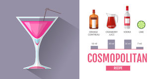 Flat style cocktail menu design. Cocktail cosmopolitan recipe. Flat cocktail menu design. Cosmopolitan cocktail recipe Stock Image