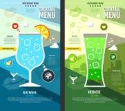Flat style cocktail menu design Stock Images