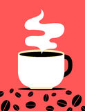Flat style coffee cup and beans poster Royalty Free Stock Image