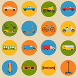 Flat style collection of transport icons Royalty Free Stock Photo