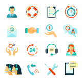 Flat Style Color Icons Of Customer Support Stock Photos