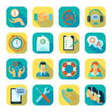 Flat Style Color Icons Set Of Technical Support. Flat style color icons set of remote technical assistance customer support and 24 hour monitoring  vector Stock Photos