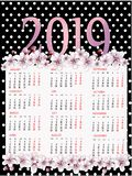 Polka dot Calendar template for 2019 with cherry blossom. Week starts from Monday. Flat style color vector illustration. Yearly calendar template. Portrait stock illustration