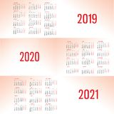Simple Calendar template for 2019, 2020 and 2021. Week starts from Monday. Flat style color vector illustration. Yearly calendar template. Portrait Orientation royalty free illustration