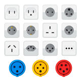 Flat style colored home industrial power socket types icon colle Royalty Free Stock Photo