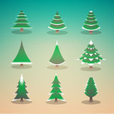 Flat style colored illustration pine tree set Stock Photo