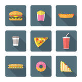 Flat style colored various fast food icons collection Royalty Free Stock Photography