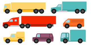 Flat style commercial vehicles set Stock Photos