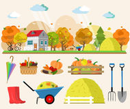 Flat style concept illustration of autumn landscape with house, rain, haystacks, baskets of vegetables, trees, tools for garden. Royalty Free Stock Photo