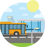 Flat style concept of public transport. City bus with front, stop. Isolated vector illustration. Royalty Free Stock Images