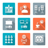 Flat style conference concept white icons set Stock Image