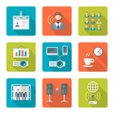 Flat style conference presentation icons set Royalty Free Stock Images