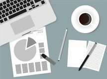 Flat Style Contemporary Design. Top view of the office workplace. Icon of a laptop keyboard, coffee cup, pencil, papers.  Stock Photography