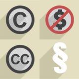 Flat style copyright set Stock Image