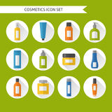 Flat style cosmetics icons set Royalty Free Stock Photography