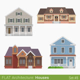 Flat style countryside cottage vector set Stock Image
