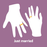 Flat style couple ring finger. Flat style hands of just married couple. Rings on ring fingers Stock Image