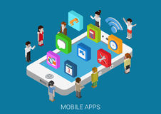 Flat style 3d isometric concept phone social media apps icons. Flat style 3d isometric vector illustration concept of smart phone with micro people and casual Stock Photos