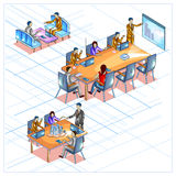 Flat style 3D Isometric view of Business meeting and conference Stock Photo