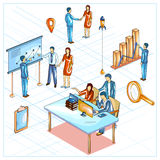 Flat style 3D Isometric view of Business meeting and conference Royalty Free Stock Photos