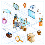 Flat style 3D Isometric view of Business Strategy Discussion Stock Images