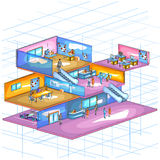 Flat style 3D Isometric view of Infrastructure layout of office workspace Stock Photos