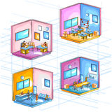 Flat style 3D Isometric view of Infrastructure layout of office workspace Stock Photo