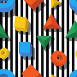 Flat style 3d shapes on black and white striped background. Royalty Free Stock Photo