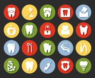 Flat style dental icons set Stock Photography