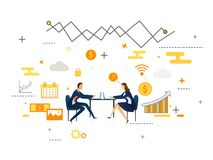 Flat style design, business people meet up concept, businessman Royalty Free Stock Images