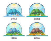 Flat style design of countryside mountains landscape. Seasons. Stock Photos