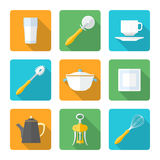 Flat style design dinnerware icons set. Vector various flat design dinnerware tableware utensil icons with shadows Stock Photography