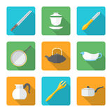 Flat style design dinnerware icons set Royalty Free Stock Photos