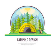 Flat style design of forest landscape and camping. Stock Photo
