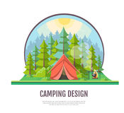 Flat style design of forest landscape and camping. Royalty Free Stock Images