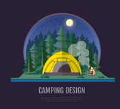 Flat style design of forest landscape and camping. Night scene Stock Image
