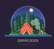Flat style design of forest landscape and camping. Night scene Royalty Free Stock Images