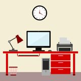 Flat style design  illustration work place home interior Royalty Free Stock Images