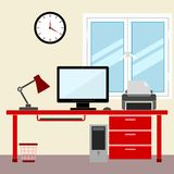 Flat style design  illustration work place home interior Stock Images