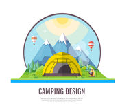 Flat style design of Mountains landscape and camping. Royalty Free Stock Photo