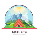 Flat style design of Mountains landscape and camping. Royalty Free Stock Photos