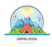 Flat style design Mountains landscape and camping. Stock Photos