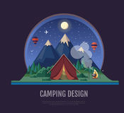 Flat style design Mountains landscape and camping. Night scene Stock Photography