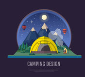 Flat style design Mountains landscape and camping. Night scene Royalty Free Stock Images