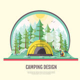 Flat style design of retro forest landscape and camping Stock Photo