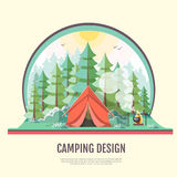 Flat style design of retro forest landscape and capming. Royalty Free Stock Images