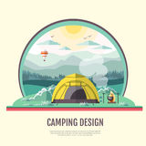 Flat style design of retro Mountains landscape and camping Stock Photography