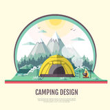 Flat style design of retro Mountains landscape and camping Royalty Free Stock Photography